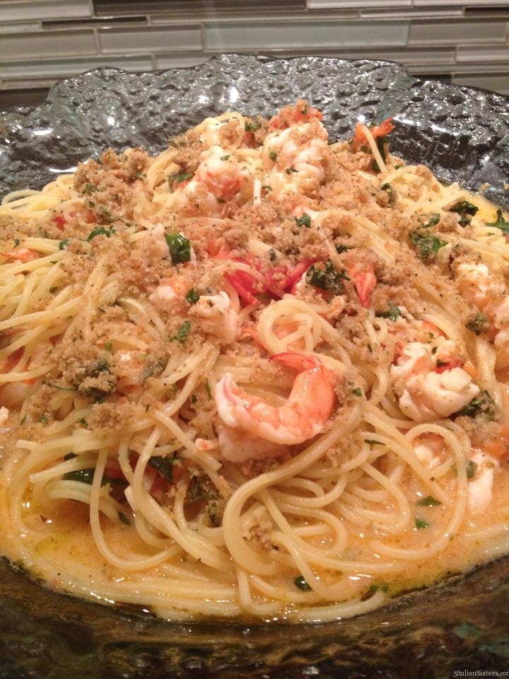 Pasta With Butterfly Shrimp Scampi Style 3 Italian Sisters